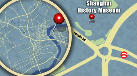 Map shows the location of the Shanghai History Museum