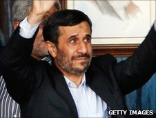 President Ahmadinejad in the town of Bint Jbeil, Lebanon