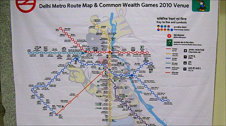 Map of the Delhi Metro
