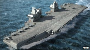 "Artist's impression of one of the Royal Navy""s planned super aircraft carriers"