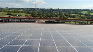 Solar panels on farm