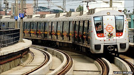 Trial run of Delhi Metro Rail on elevated section of track