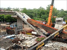 Collapsed Metro bridge in Delhi