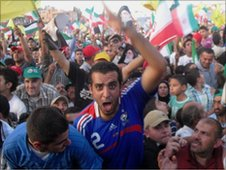 Supporters of President Ahmadinejad in Bint Jbeil, Lebanon