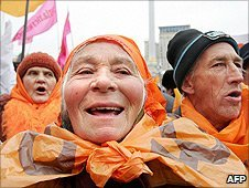 Ukrainians marking the one year anniversary of the Orange Revolution