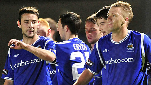 Linfield celebrated a 4-0 home win over Newry City