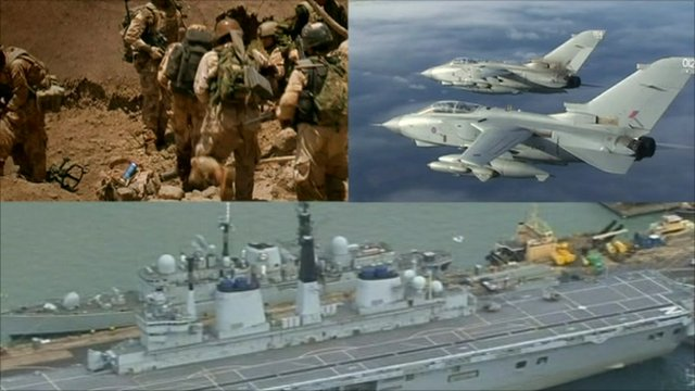 Troops, planes and warship