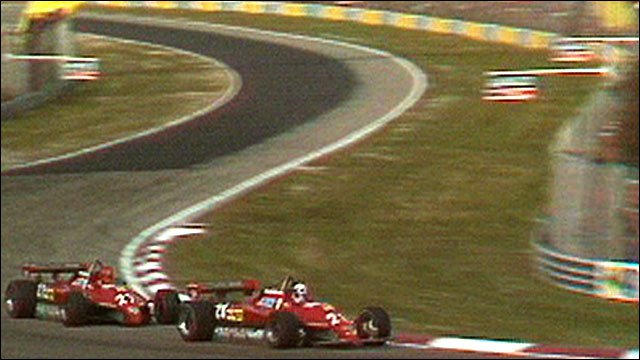 Didier Pironi gets past Ferrari team-mate Gilles Villeneuve