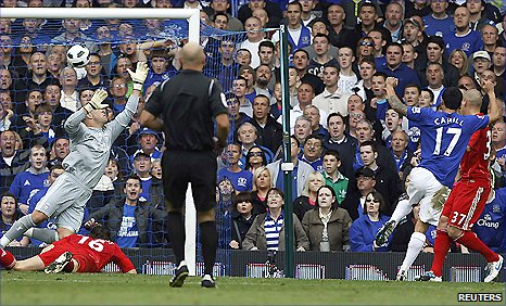 Tim Cahill (right) beats Liverpool keeper Pepe Reina with a shot which put Everton 1-0 up at Goodison Park