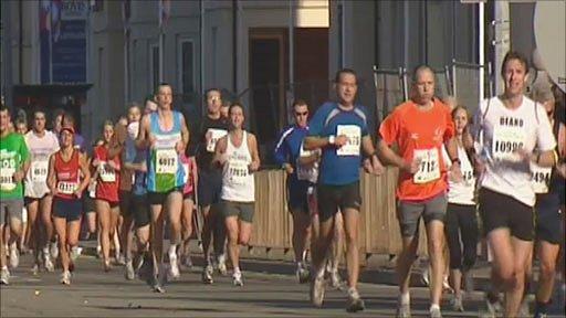 Runners on the Cardiff half marathon