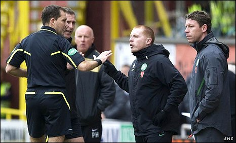 Referee Dougie McDonald tries to placate Celtic manager Neil Lennon