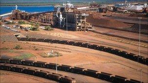 A BHP Billiton iron ore depot in Western Australia (pic courtesy of BHP Billiton)
