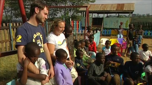 Tourists volunteering in Kenya