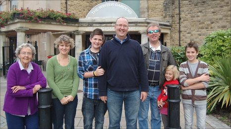 Revd Mark Carey, centre, with members of �Outnumbered� meeting at the local Wetherspoons pub for Sunday morning brunch.