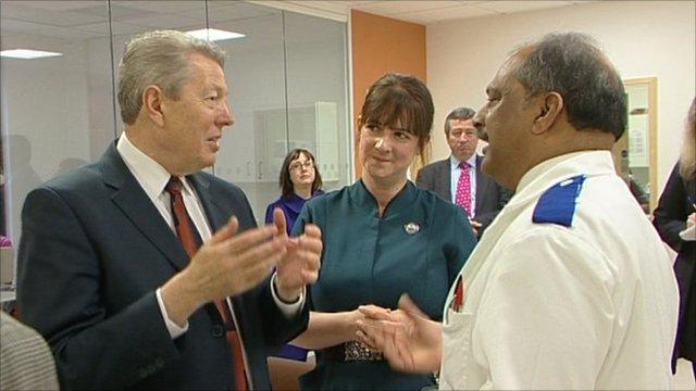 Shadow Chancellor Alan Johnson talking to NHS employees