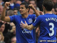 Tim Cahill (l) celebrates his goal against Liverpool on Sunday