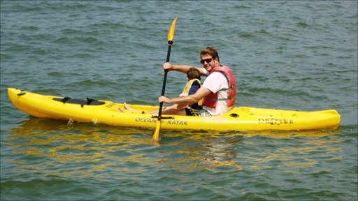 A man and child in a kayak