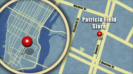 Map shows the location of Patricia Field Boutique