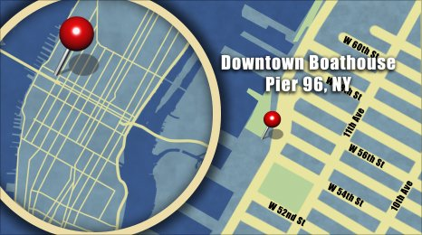 Map shows the location of Downtown Boathouse