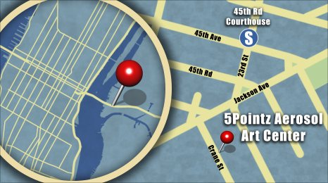 Map shows the location of 5Pointz