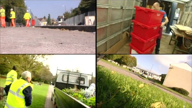 Four screens: Men in uniform outside, men in uniform clearing rubbish, an office worker moving plastic boxes, a patch of grass