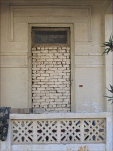 A bricked in doorway to an old Cairo building