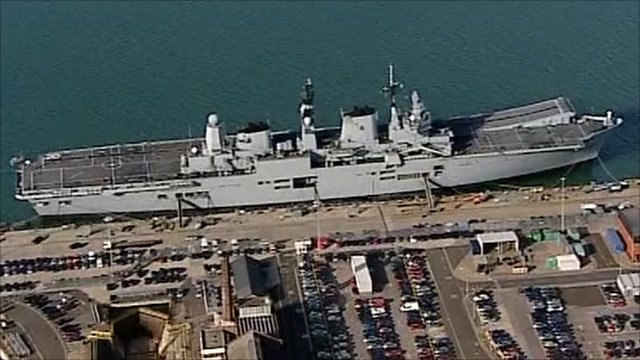 HMS Ark Royal, docked in Portsmouth