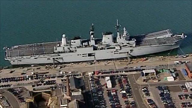 HMS Ark Royal, docked in Portsmouth