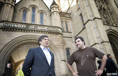Andre Geim (left) and Konstantin Novoselov