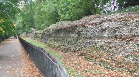 Roman wall in St Albans