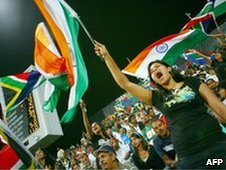 Indian supporters cheer during the match between India and South Africa at the 2007 Twenty20 Cricket World Championship
