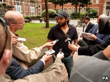 Pakistan's Shahid Afridi during a news conference in Leeds