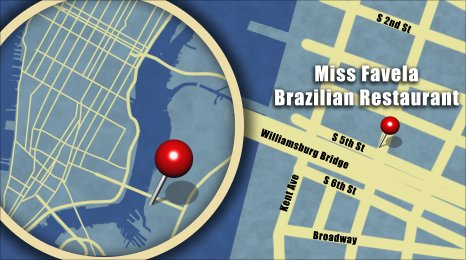 Map shows the location of Miss Favela