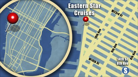 Map shows the location of Eastern Star Cruises