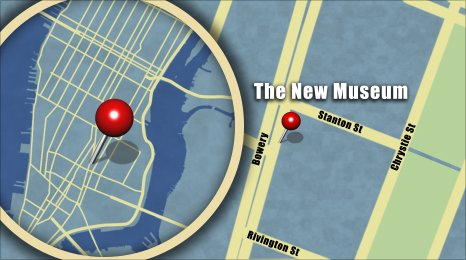 Map shows the location of the New Museum