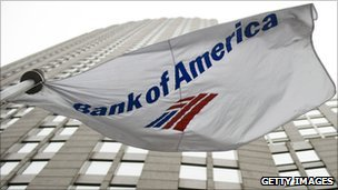 Bank of America flag and building
