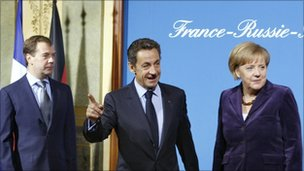 Dmitry Medvedev, Nicolas Sarkozy and Angela Merkel