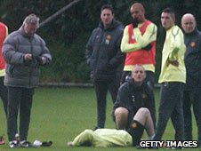 Wayne Rooney was injured in training on Tuesday