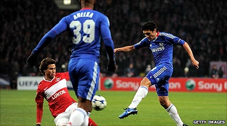 Yuri Zhirkov scores Chelsea's first goal against Spartak Moscow