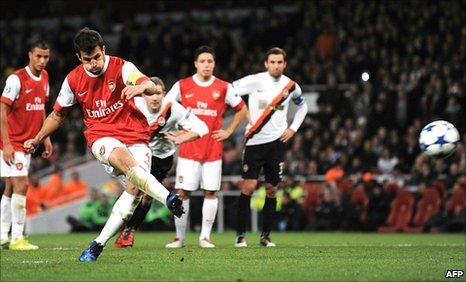 Cesc Fabregas scores Arsenal's third goal