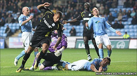 Jay Bothroyd sends the winner into the back of Coventry's net