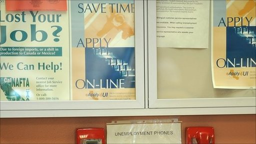 Signs in US Job Centre
