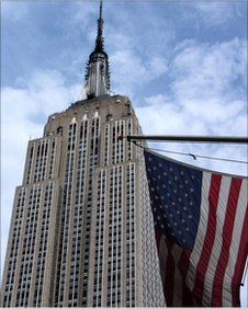 The Empire State Building and a US flag