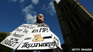 Protester in Westminster