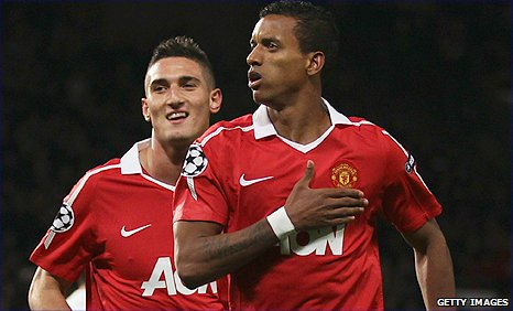 Nani (right) celebrates with Federico Macheda after putting Man Utd ahead against Bursaspor