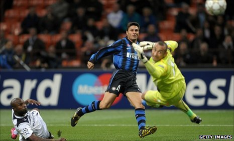 Javier Zanetti scores the opener for Inter Milan
