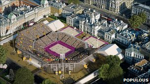 How the stadium will look: beach volleyball in the heart of Westminster