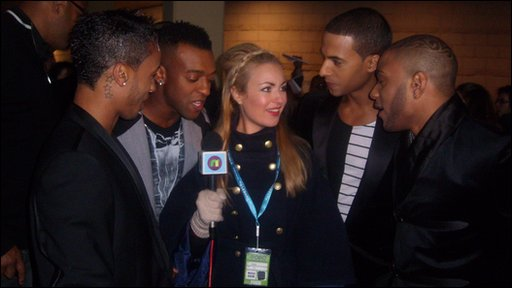 Hayley with JLS at the MOBO awards in Liverpool