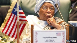 President Ellen Johnson-Sirleaf attends the opening session of the 2nd Arab-Africa summit in Sirte on 10 October 2010