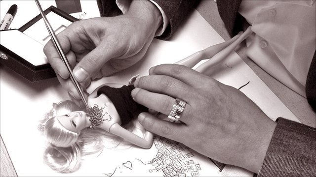 Stefano Canturi creating a custom-designed Barbie in his studio in Sydney, Australia